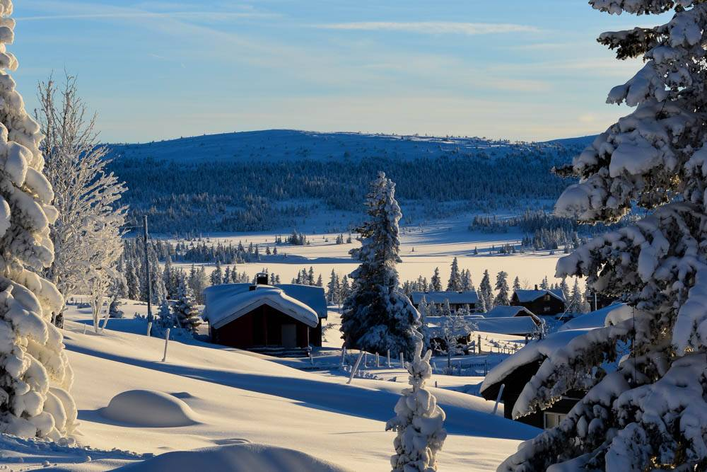 Vinterutsikt i Sjusjøen sentrum