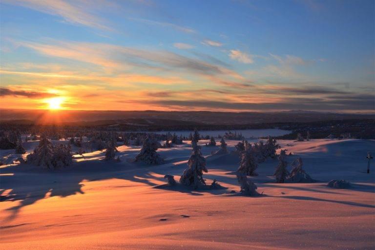 Solnedgang fra Snørvillen